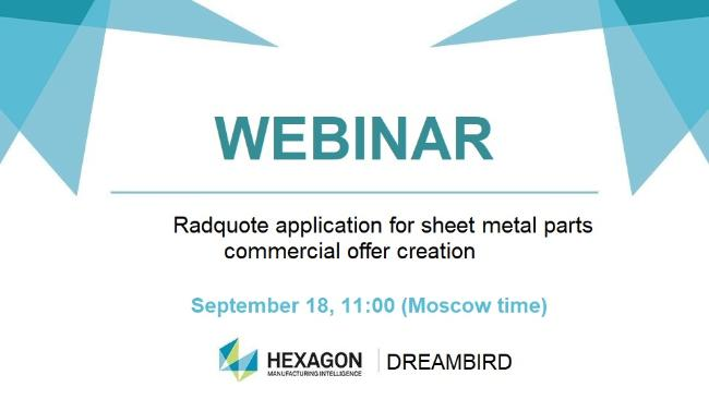 Webinar: Radquote for sheet metal parts commercial offer creation